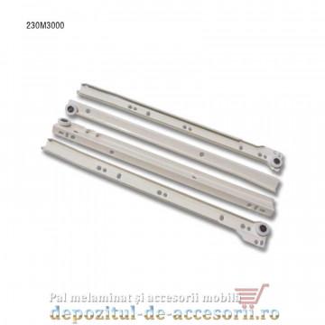 Glisiere cu role 300mm albe extragere parțială Blum 230M3000