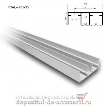 Șină dublă fără acoperire SKM80 AY 3m aluminiu