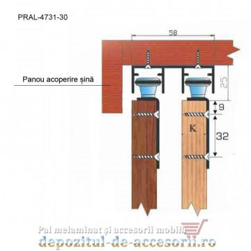 Asamblare Sina dubla fara acoperire pentru SKM80-AY lungimea 3m aluminiu