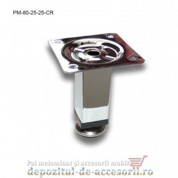 Picior metalic mobilier H80 25x25mm profil pătrat cromat