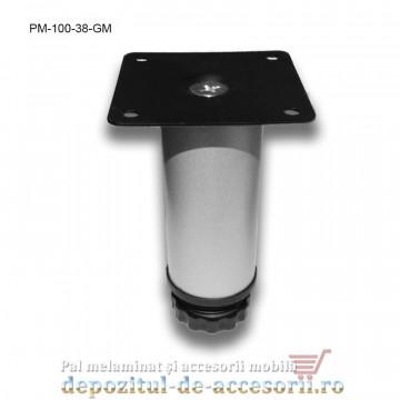 Picior metalic mobilier H100 Ø38mm gri metalizat