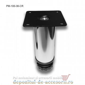 Picior metalic mobilier H100 Ø38mm cromat