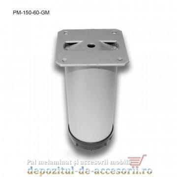 Picior metalic mobilier H150 Ø60mm gri metalizat