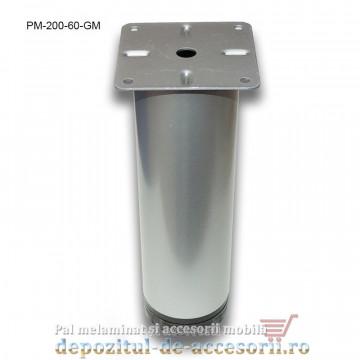 Picior metalic mobilier H200 Ø60mm gri metalizat