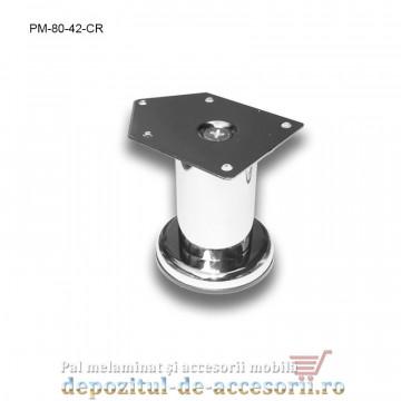 Picior metalic mobilier H80 Ø42mm cromat