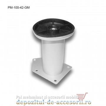 Picior metalic mobilier H100 Ø42mm gri metalizat