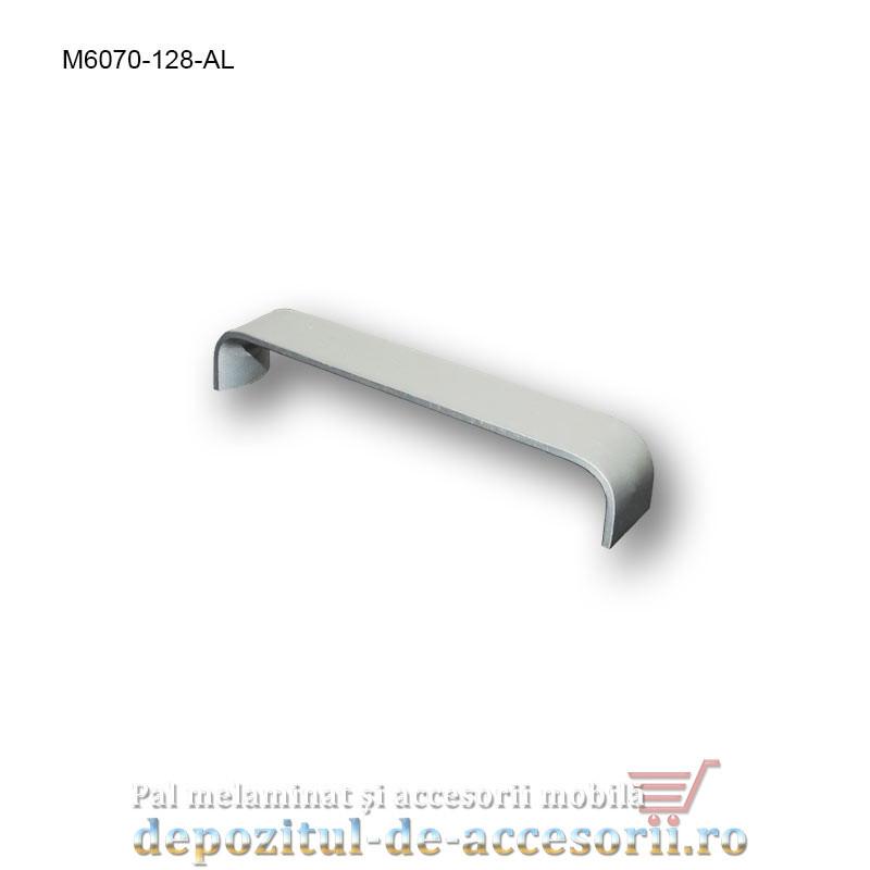 Maner mobilier Aluminiu M6070-128-AL Satinat distanta intre gauri de 128mm