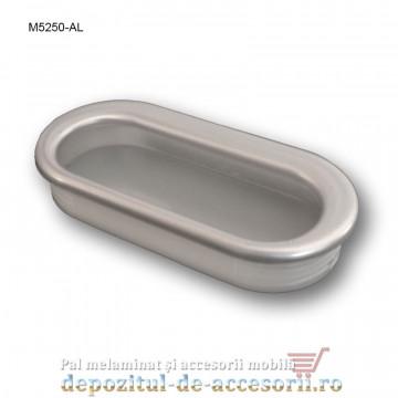 Maner mobilier ingropat plastic oval tip scoica finisaj aluminiu M5250-AL