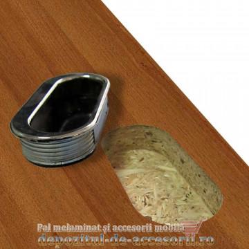 Maner mobilier ingropat plastic oval finisaj cromat M5250-CR