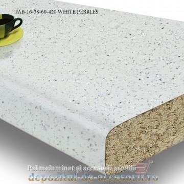 Blat de bucătărie mat WHITE PEBBLES 38x600x4200mm FAB Grup
