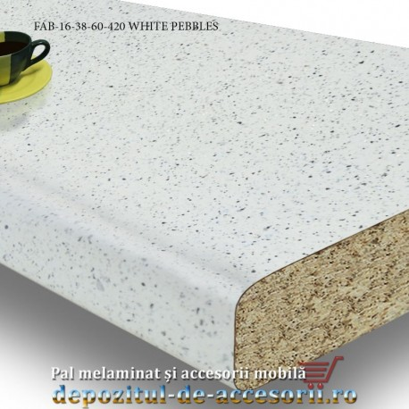 Blat de bucatarie mat WHITE PEBBLES dimensiuni 38x600x4200mm FAB Grup FAB 16