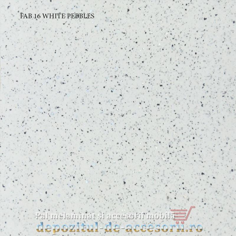 Blat de bucatarie mat WHITE PEBBLES dimensiuni 28x800x4200mm FAB Grup FAB 16