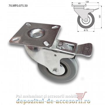 Role mobilier cauciuc cu frana Ø75mm pivotante prindere cu flansa 70.MF0.075.50