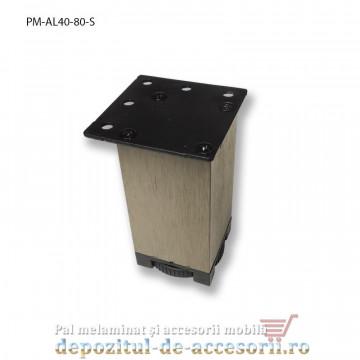 Picior mobilier H80mm profil pătrat 40 x 40mm, șampanie