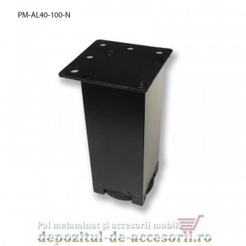Picior mobilier H100mm profil aluminiu patrat 40x40mm, reglabil, negru