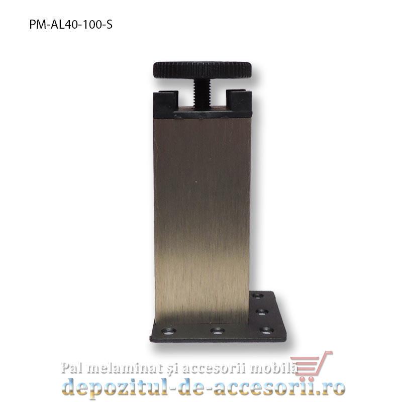 Picior mobilier H100mm profil aluminiu patrat 40mm, reglabil, sampanie