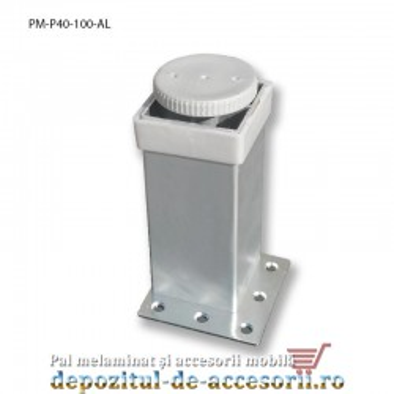 Picior mobilier H100mm profil patrat 40x40mm, reglabil, aluminiu