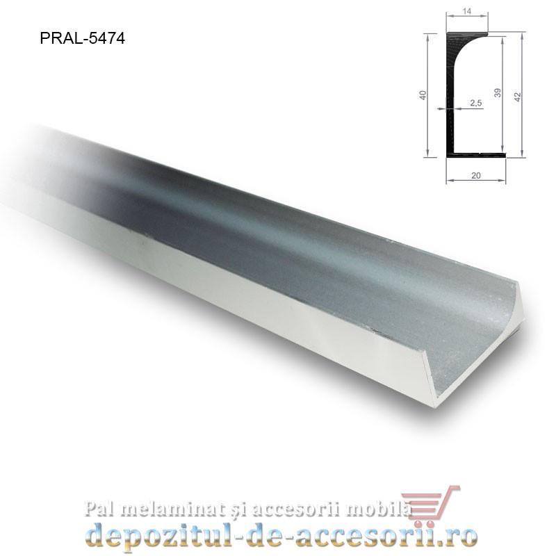 Profil C aluminiu mâner vertical lungimea 2,5m 5474