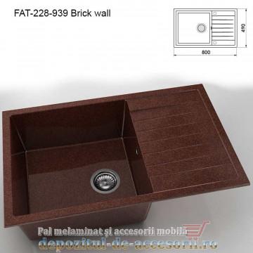 Chiuveta cu o cuva Granixit compozit 228-939 Brick wall 800x490mm