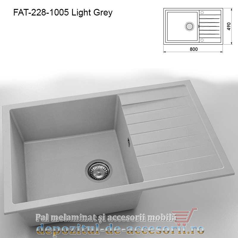 Chiuveta cu o cuva Granixit compozit 228-1005 Light Grey 800x490mm