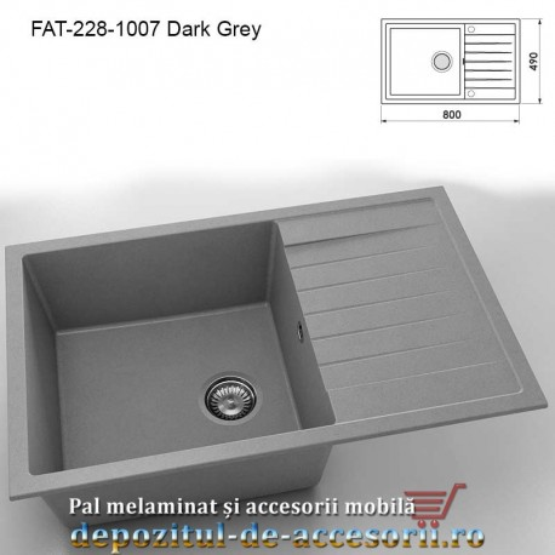 Chiuveta cu o cuva Granixit compozit 228-1007 Dark Grey 800x490mm