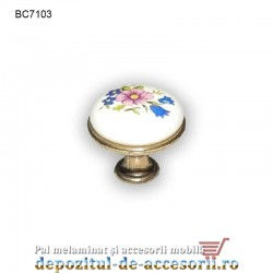 Buton antichizat ceramic floare 25mm C7103