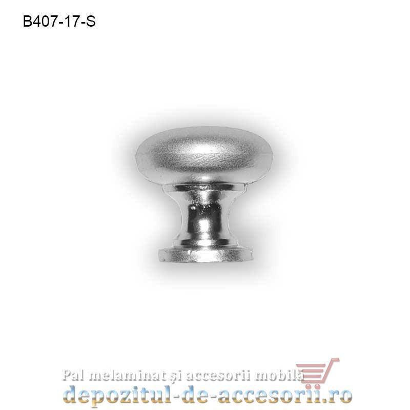Buton metalic mobilier B407-17-S Ø17mm satinat